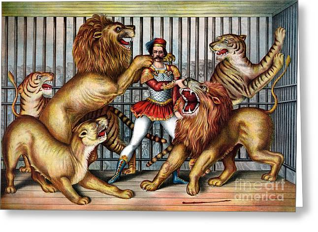 Circus Lion Taming Act 1873 Greeting Card by Science Source