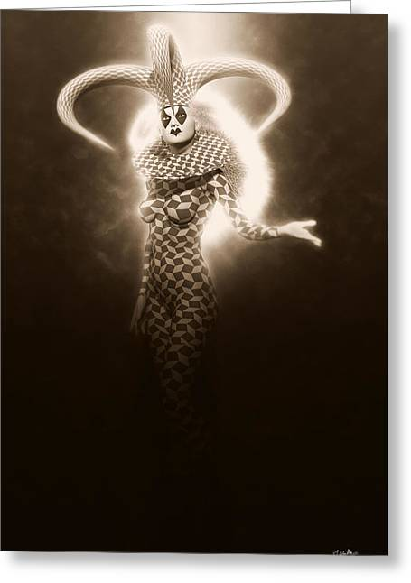 Circus Of Horrors - Light Jester Woman Greeting Card by Joaquin Abella