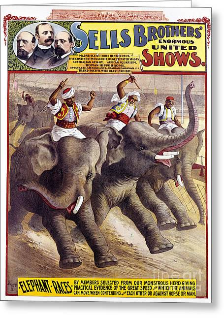 Chromolithograph Greeting Cards - CIRCUS POSTER, c1890 Greeting Card by Granger