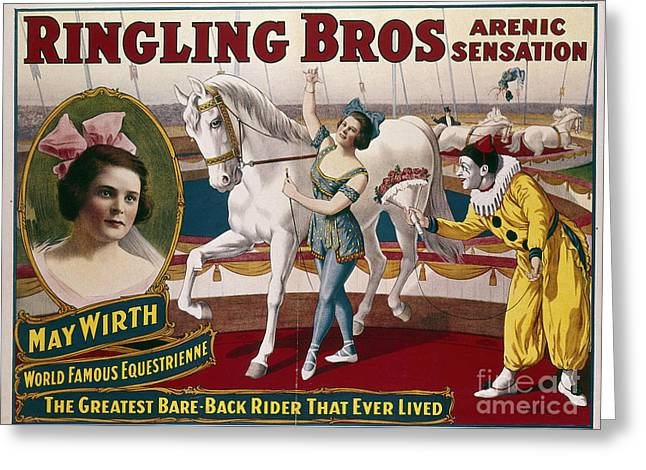 Ringling Brothers Greeting Cards - CIRCUS POSTER, c1918 Greeting Card by Granger