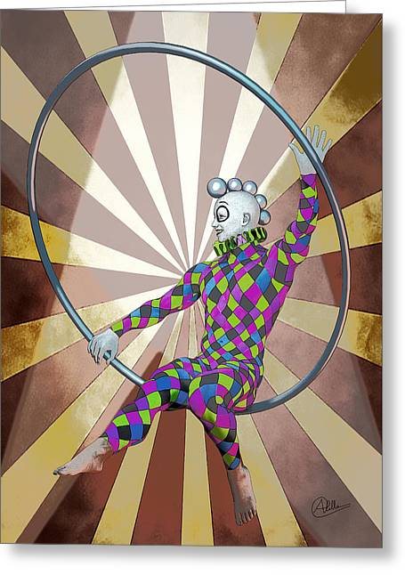 Jester Mixed Media Greeting Cards - Cirque By Quim Abella Greeting Card by Joaquin Abella