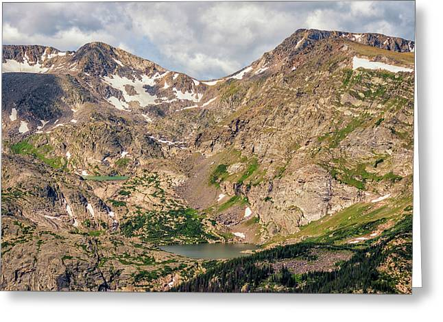 Cirque Lakes In Rocky Mountain National Park Greeting Card by Loree Johnson