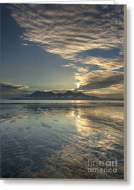 Inner-self Photographs Greeting Cards - Cirrocumulus Sunset over Rhum from Eigg Greeting Card by John Potter