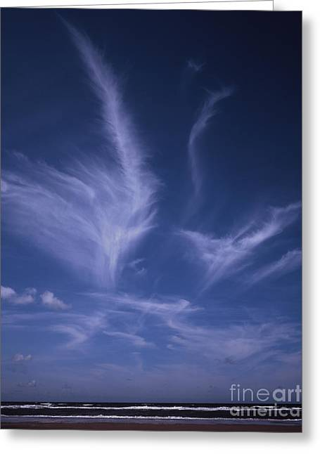 Sand Patterns Greeting Cards - Cirrus cloud above the shore line at Formby Beach near Liverpool Merseyside Lancashire England Greeting Card by Michael Walters