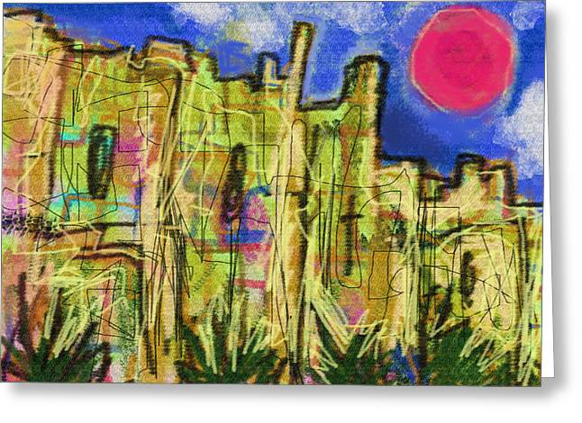 Sand Castles Drawings Greeting Cards - Citadel de Raymond  Greeting Card by Paul Sutcliffe