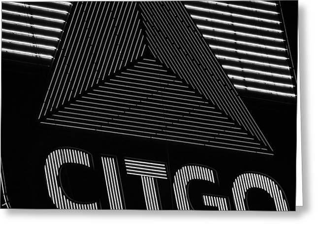 Boston Ma Greeting Cards - Citgo Sign Closeup Boston MA Black and White Greeting Card by Toby McGuire