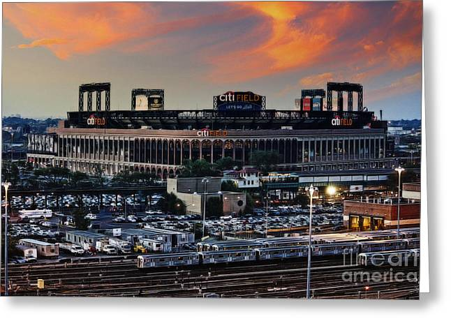 Citi Field Sunset Greeting Card by Nishanth Gopinathan