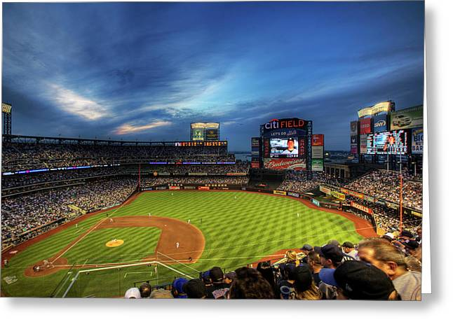 Met Greeting Cards - Citi Field Twilight Greeting Card by Shawn Everhart