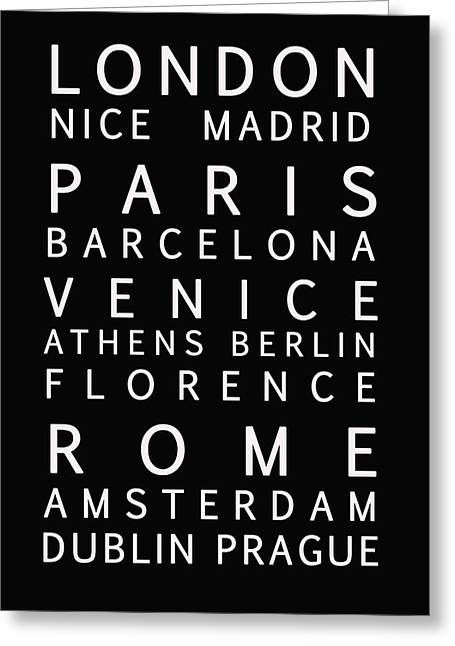 Bus Roll Greeting Cards - Cities of Europe Greeting Card by Nomad Art And  Design