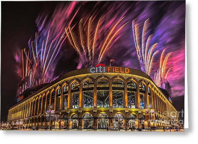 Pyrotechnics Greeting Cards - CitiField Fireworks Greeting Card by Jerry Fornarotto