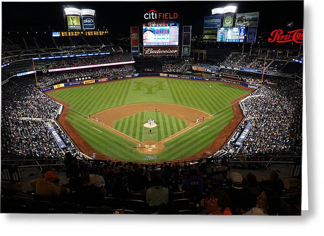Citifield Greeting Cards - CitiField View at Night Greeting Card by Daniel Portalatin