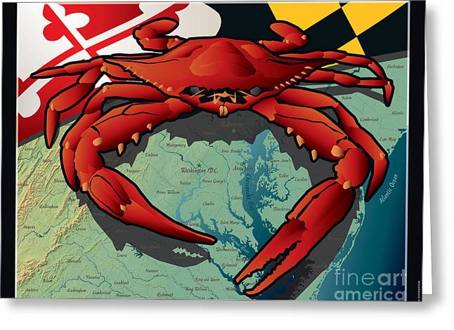 Crabs Greeting Cards - Citizen Crab of Maryland Greeting Card by Joe Barsin