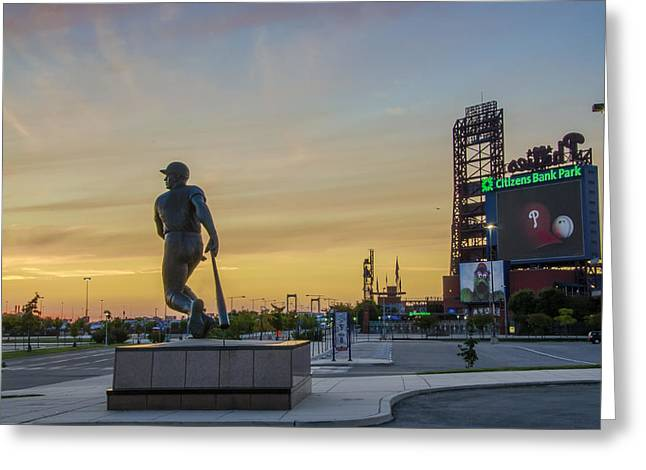 Greeting Cards - Citizens Bank Park Sunrise Greeting Card by Bill Cannon