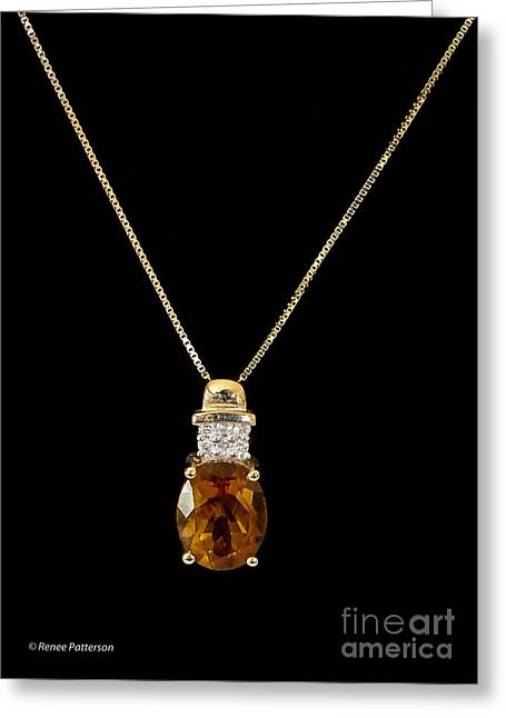 Gold Necklace Greeting Cards - Citrine Pendant Greeting Card by Renee Patterson