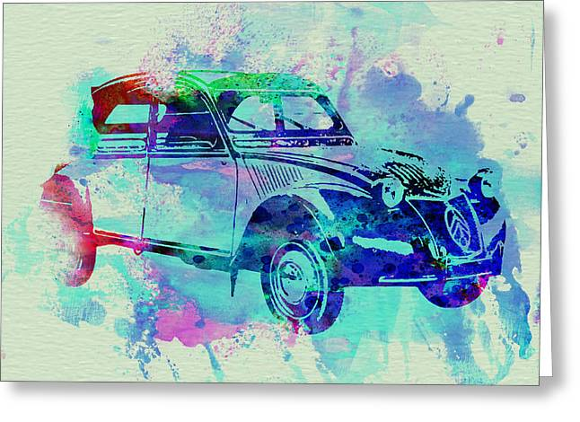 Classic Drawings Greeting Cards - Citroen 2CV Greeting Card by Naxart Studio