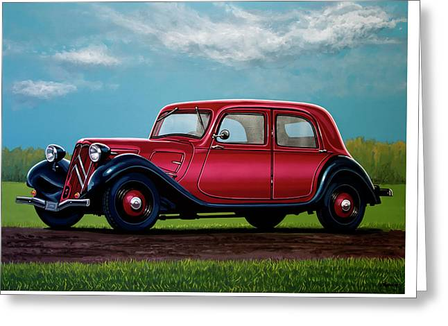 Citroen Traction Avant 1934 Painting Greeting Card by Paul Meijering