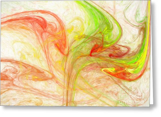 Green And Yellow Greeting Cards - Citrus Delight Abstract 1 Greeting Card by Andee Design