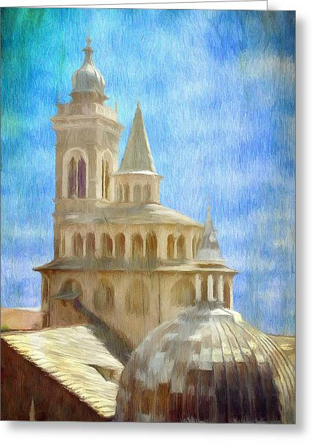 Cross Greeting Cards - Citta Alta from Above Greeting Card by Jeff Kolker