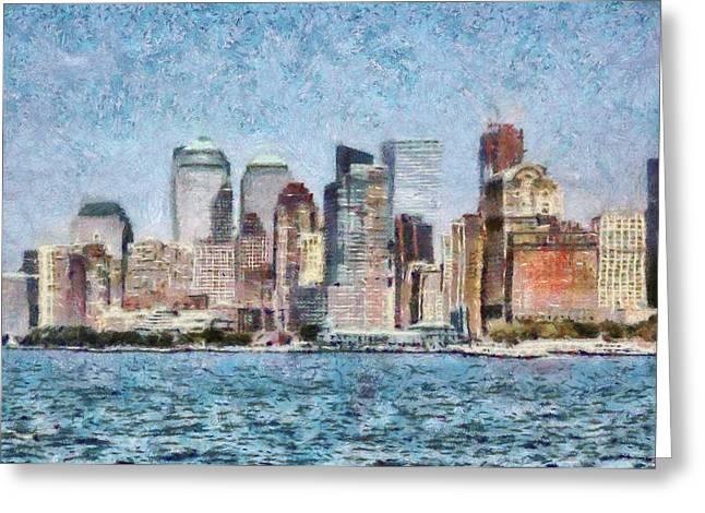 City - Ny - Manhattan Greeting Card by Mike Savad