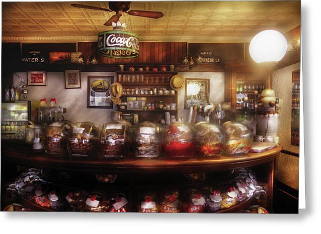 Water Jars Greeting Cards - City - NY 77 Water Street - The candy store Greeting Card by Mike Savad