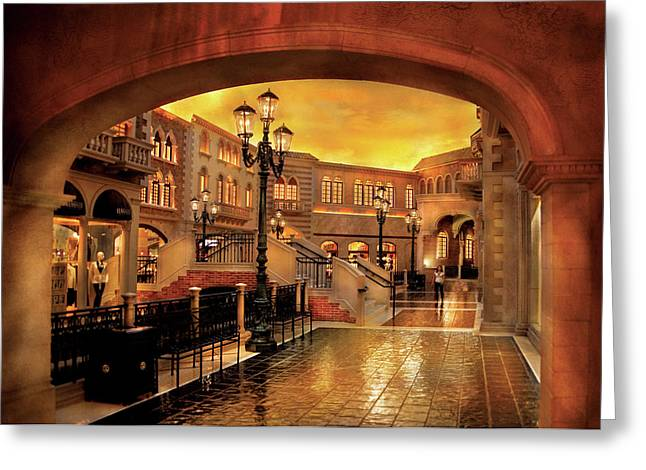 Italian Sunset Greeting Cards - City - Vegas - Venetian - The streets of Venice Greeting Card by Mike Savad