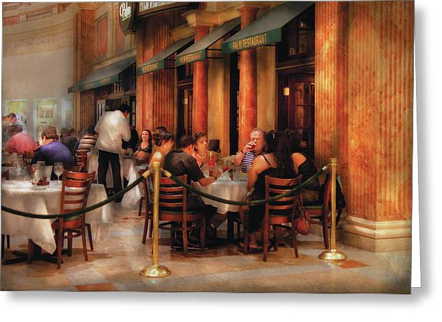 City - Venetian - Dining At The Palazzo Greeting Card by Mike Savad