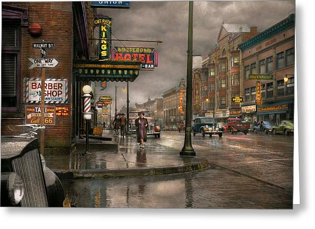 City - Amsterdam Ny -  Call 666 For Taxi 1941 Greeting Card by Mike Savad