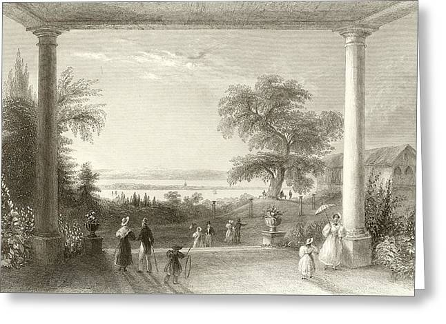 Chateau Drawings Greeting Cards - City and Lake of Constance from the Chateau Wolfsberg Greeting Card by William Henry Bartlett