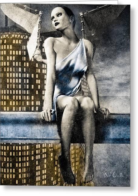 Night Angel Greeting Cards - City Angel -2 Greeting Card by Bob Orsillo