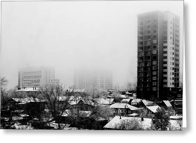 Monochrome Greeting Cards - City Apartments Village Homes in Fog Greeting Card by John Williams