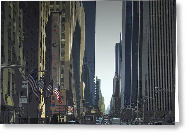 Facades Mixed Media Greeting Cards - City-Art 6th Avenue NY  Greeting Card by Melanie Viola