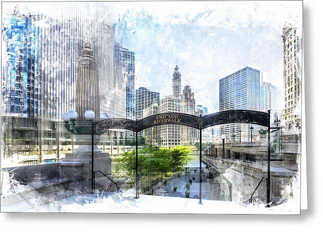 City-art Chicago Downtown I Greeting Card by Melanie Viola