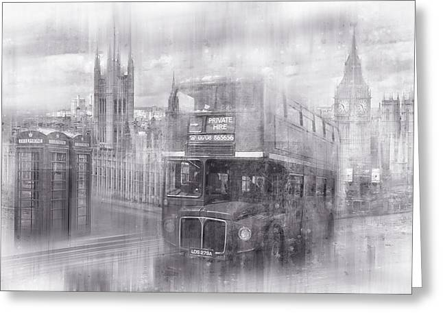 Telephone Booth Greeting Cards - City-Art LONDON Westminster Collage black and white Greeting Card by Melanie Viola
