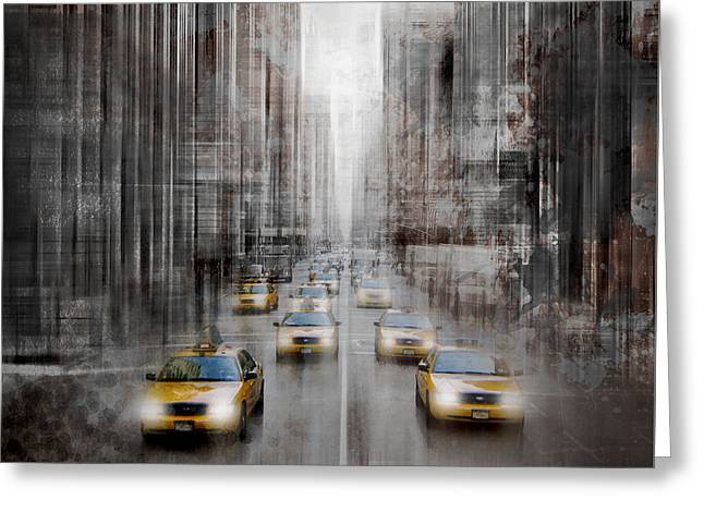 City-art Nyc 5th Avenue Yellow Cabs Greeting Card by Melanie Viola