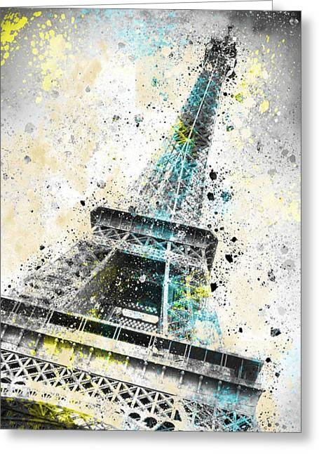 Vertical Digital Art Greeting Cards - City-Art PARIS Eiffel Tower IV Greeting Card by Melanie Viola