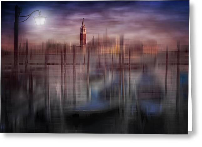 City-art Venice Gondolas At Sunset Greeting Card by Melanie ViolaDigital-Art VENICE Gondolas at Sunset