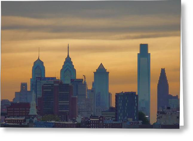 Phillies Mixed Media Greeting Cards - City At Dusk Greeting Card by Thomas  MacPherson Jr