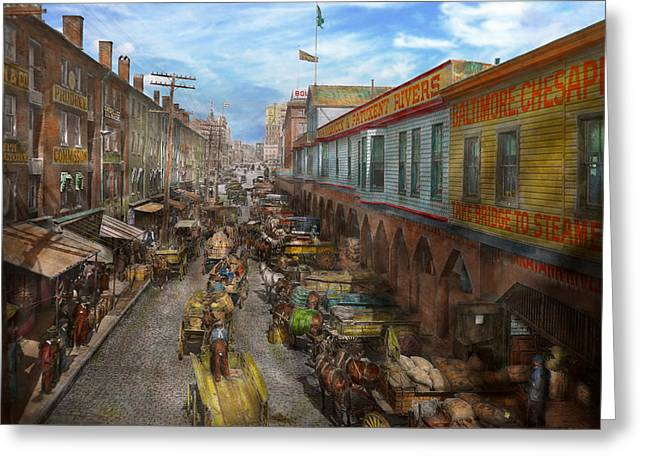 Colorization Greeting Cards - City - Baltimore MD - Traffic on light street - 1906 Greeting Card by Mike Savad