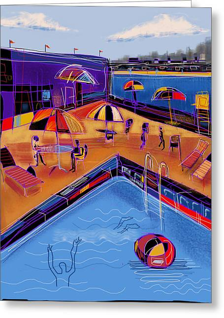 Sun Tanning Greeting Cards - City Beach Club Greeting Card by Russell Pierce
