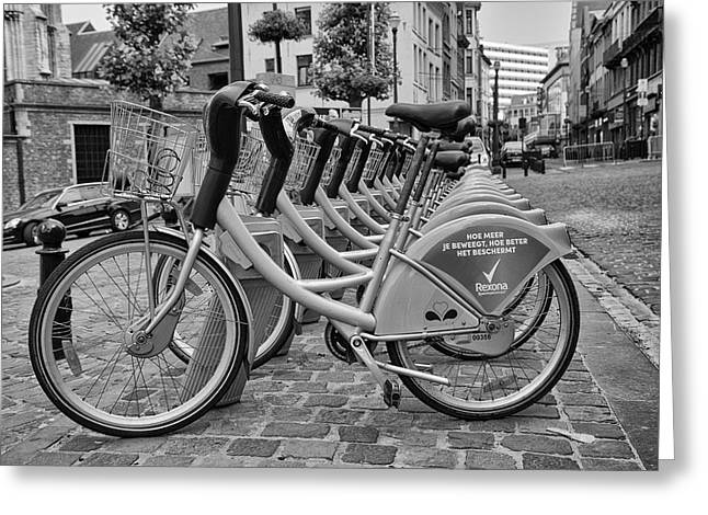 Bruxelles Greeting Cards - City Bicycles Greeting Card by Nomad Art And  Design