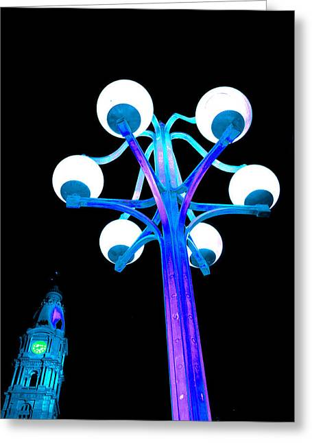 City Hall Greeting Cards - City Blues Greeting Card by Andrew Dinh