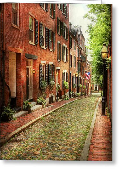 City - Boston Ma - Acorn Street Greeting Card by Mike Savad
