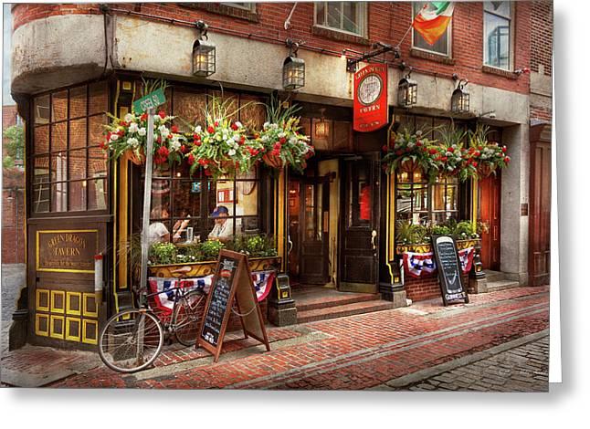 City - Boston Ma - The Green Dragon Tavern Greeting Card by Mike Savad