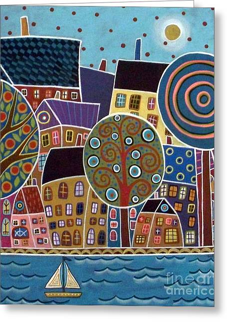 Abstract Seascape Greeting Cards - City By The Sea Greeting Card by Karla Gerard