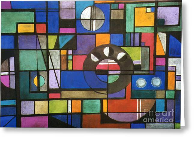 Cubist Pastels Greeting Cards - City Greeting Card by Caroline Peacock