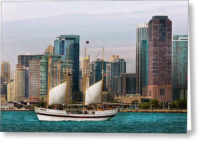 City - Chicago - Cruising In Chicago Greeting Card by Mike Savad
