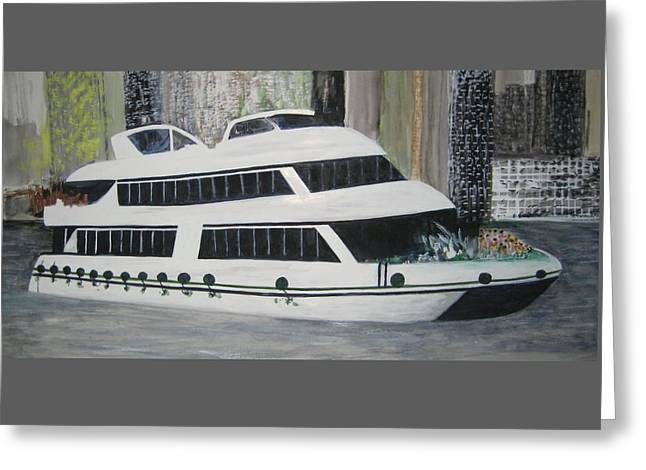 Boat Cruise Greeting Cards - City Cruise  Greeting Card by Imelda Tio