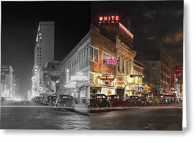 City - Dallas Tx - Elm Street At Night 1941 - Side By Side Greeting Card by Mike Savad