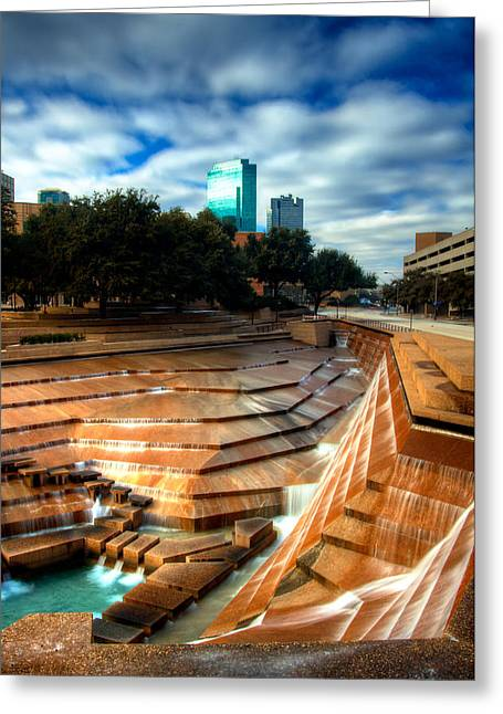 Recently Sold -  - Stepping Stones Greeting Cards - City Falls - Fort Worth Water Garden  Greeting Card by Brian Orlovich
