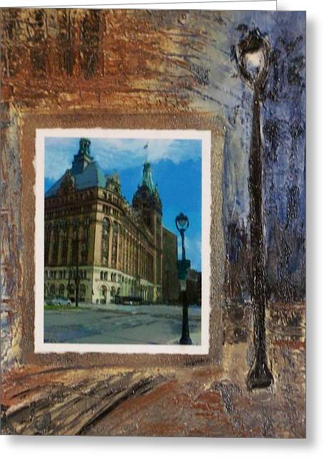 City Hall Greeting Cards - City Hall and street lamp Greeting Card by Anita Burgermeister